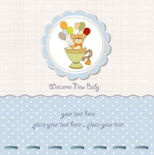 Baby Shower Card  Cute Teddy Bear - 24
