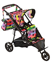 Twin Doll Jogger Stroller With Free Diaper Bag