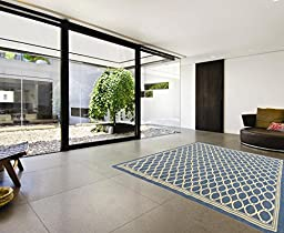 Ottomanson Jardin Collection Natural Geometric Trellis Design Indoor/Outdoor Jute Backing Area Rv Patio Mat Rug, Blue, 5\'3\