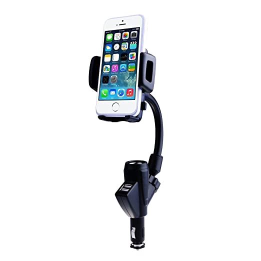 VicTsing® Dual USB Ports Car Charger Mount with Cigarette Lighter Charger DC Port, 360° Rotating Adjustable Car Mount Stand H
