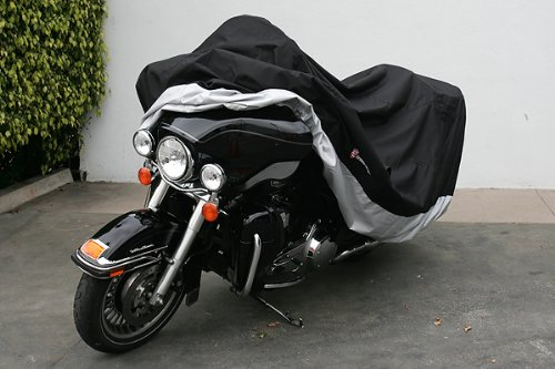 "Heavy Duty Motorcycle cover (XXL). Fits up to 108"" length Large cruiser, Tourer, Chopper. Includes cable and lock."