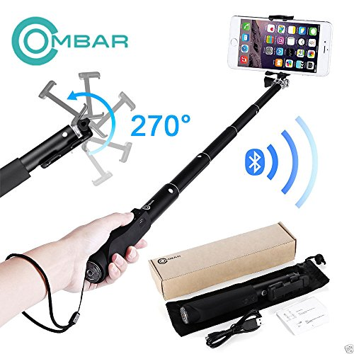 Selfie Stick - Extendable Monopod with Bluetooth for Cell Phone Samsung iPhone (Palo De Fotos compare prices)