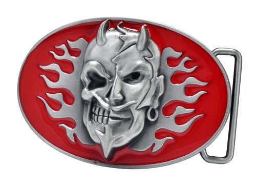 Buckle Rage Devil and Skull Red Belt Buckle Metal Motorcycle Cool Awesome Novelty Biker One Size