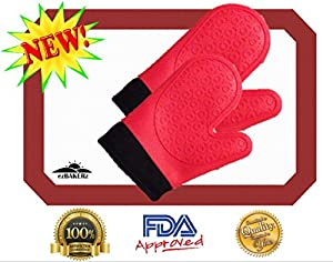 Silicone Oven Mitts with Bonus Nonstick Baking Mat Half Sheet Size 16 5 8 x 11! Premium Non-stick Heat Resistant Gloves or Potholders and Pastry Liner Set! No Hassle Guarantee! Rave Reviews!