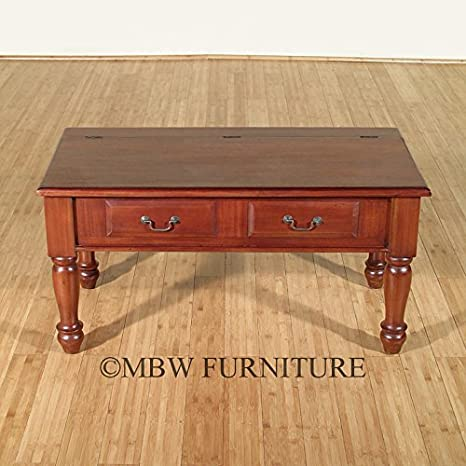 Distressed Solid Mahogany Trunk Chest Coffee Table w/ Compartment