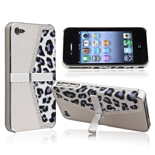 eForCity Snap-on Case with Stand Compatible with Apple? iPhone? 4 / 4S, Chrome Silver Leopard