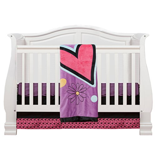 One Grace Place Sassy Shaylee Infant Crib Bedding Set, Black/Purple - 1