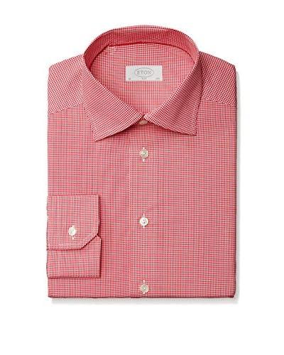 Eton Men's Slim Fit Mini Check Spread Collar Dress Shirt