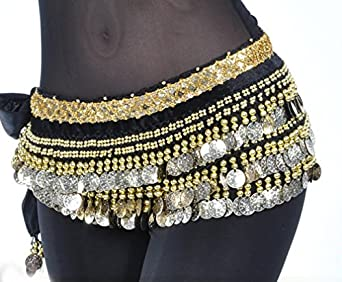 Belly Dance Hip Scarf Wrap Belt with Gold Coins