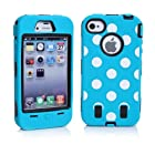 Meaci® Iphone 4 4s Case Hard Soft Wave Point/ Spot Combo Hybrid Defender Impact Body Armorbox Hard Case (I)