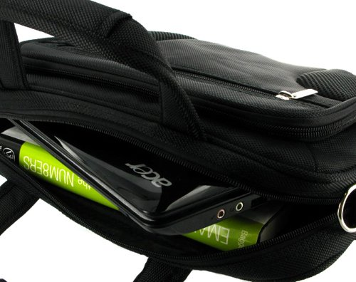 rooCASE Netbook / iPad Carrying Bag for Samsung NB30-JP02 10.1-Inch Netbook Texturized Matte Black - Deluxe Series Black