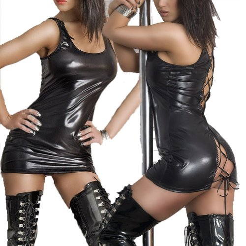 QinYing Wet Look PVC Leather Black Lace up Fancy Mini Dress (Pvc Wet Look Lingerie compare prices)