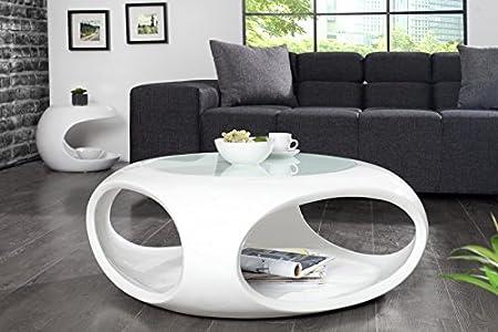 DuNord Design Couchtisch Sofatisch TORSION weiss hochglanz Glasfaser Retro Design Lounge