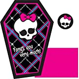 """Amscan Monster High Birthday Part Thank You Note Cards Supply (8 Pack), 4.25"""" x 6.25"""", Multicolor"""