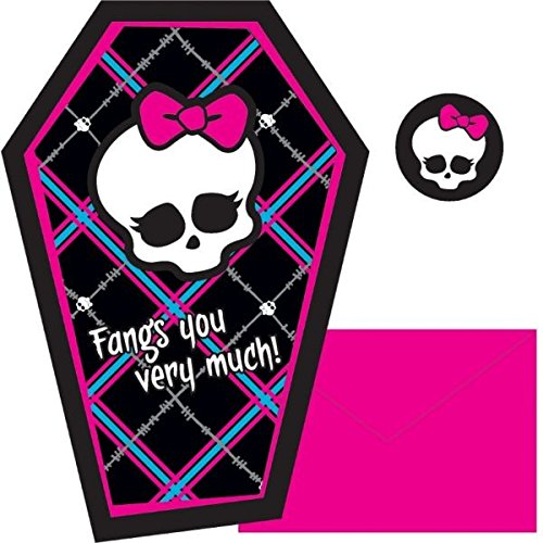 Amscan Monster High Thank You Note (8 Piece), Black/Blue/Pink/White, 425 x 625""