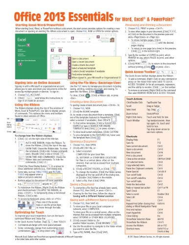 Microsoft Office 2013 Essentials Quick Reference Guide (Cheat Sheet Of Instructions, Tips & Shortcuts - Laminated Card)