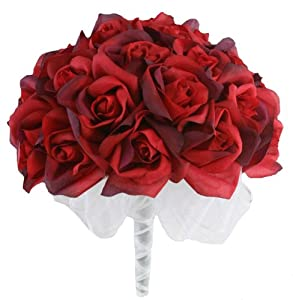 Red Silk Rose Hand Tie (3 Dozen Roses) - Bridal Wedding Bouquet