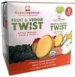 Happy Squeeze Organic Superfoods Fruit & Veggie Twist Apple Mango Pear & Kale 12 Pouches
