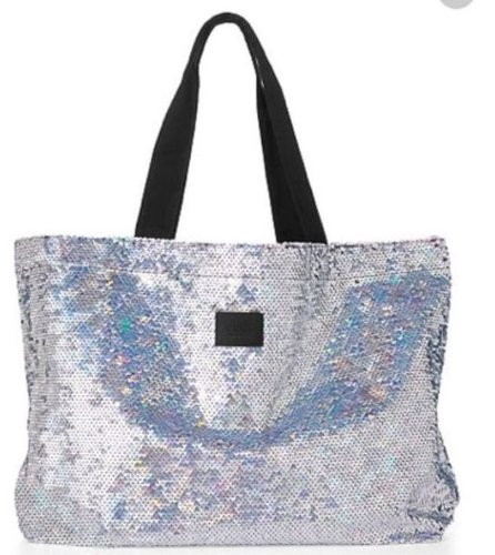 Victoria's Secret Pink Sequin Tote Bag Silver Sequin Beach Bag (OverSize)