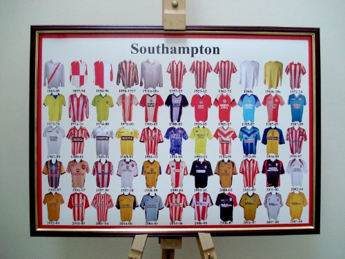 SOUTHAMPTON FC FRAMED FOOTBALL SHIRT POSTER THROUGH THE AGES