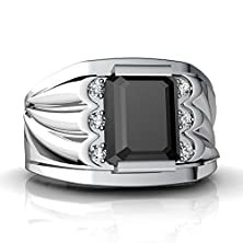 buy 14Kt White Gold Black Onyx And Diamond 9X7Mm Emerald_Cut Men'S Ring - Size 9