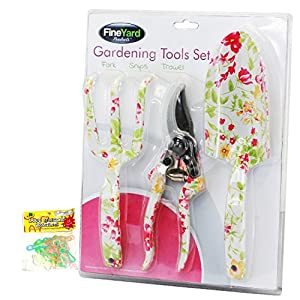 top ladies pink floral 3 piece garden tool