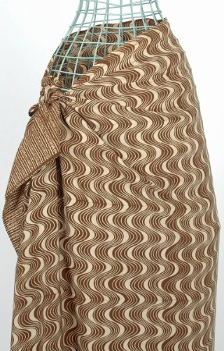 Bali Waves in Brown on Cream Batik Sarong