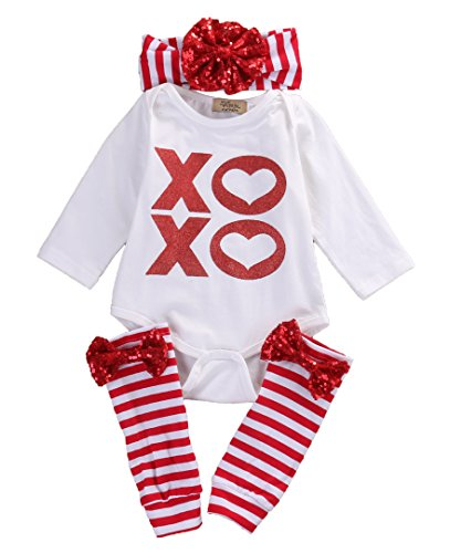 Baby Boys Girls Christmas Outfit 3PCS Xmas Suit Romper Pajamas Headband Leggings (0~3months, white)