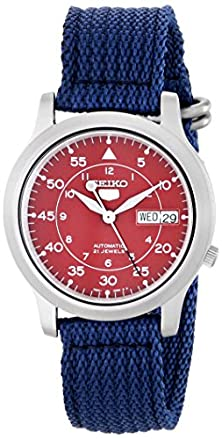 buy Seiko Men'S Snkm95 Stainless Steel Automatic Watch With Blue Canvas Band