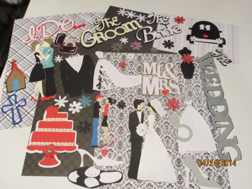 Handmade 50 Completed Wedding Scrapbook Page Die Cuts Perfect To Create Your Own Pages