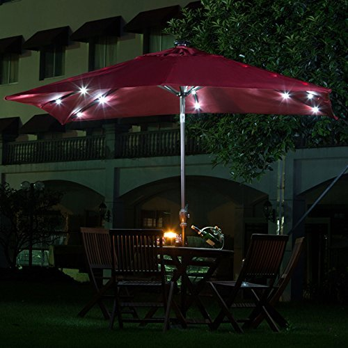 9' Solar 28 LED Lights Patio Umbrella Garden Outdoor