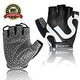 Cycling Gloves, Half Finger Mountain Bike Gloves Shockproof Foam Padded Outdoor Sports Gloves, Biking Gloves for Boys Men Women (Black, M)