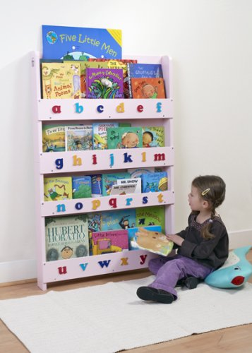 The Tidy Books Children's Bookcase - Perfect book display and storage for your children (Pink, Lowercase)