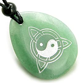 Magic Ying Yang and Celtic Triquetra Knot Amulet Aventurine Necklace