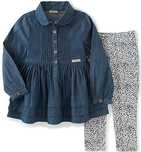 Calvin Klein Baby Denim with Button Tunic and Leggings Set, Blue, 18 Months