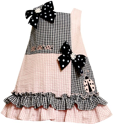 Bonnie Jean GIRLS 2T-4T PINK BLUE LADYBUGS BOWS COLORBLOCK SEERSUCKER DRESS