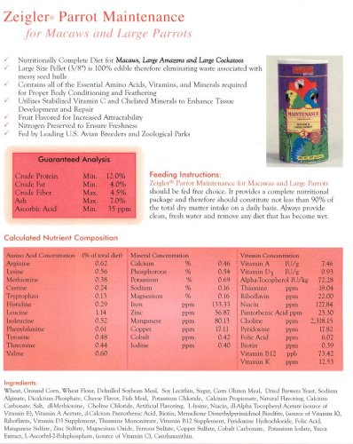 Image of Zeigler Bird Food - Macaw & Large Parrot Maintenance Formulated Food - 32 oz (B0002AQ8GS)