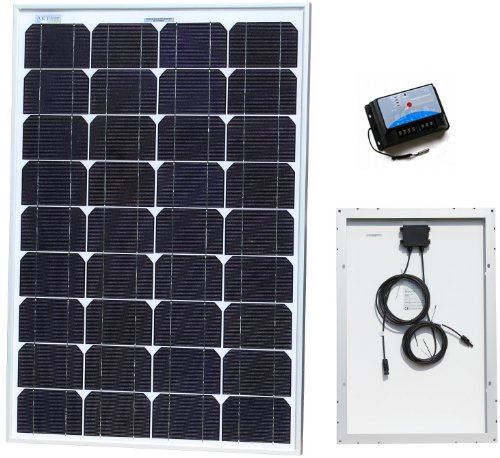50W AKT Solar Panel Kit with 10A charge controller and solar cables - Complete kit for a 12V system e.g. in a Caravan, Boat or Outhouse
