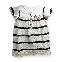 AC Baby Girls' Dress (BL1_Black White_12-18 months)