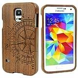 Semoss Bussola Custodia in Bambù Fatta a Mano Cover Rigida per Samsung Galaxy S5 Naturale Bamboo