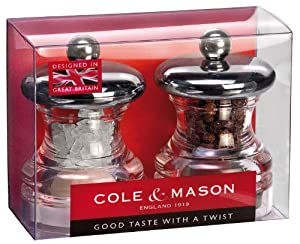Cole and Mason HP03780 Button Acrylic Salt and Pepper Mill Set by Cole & Mason