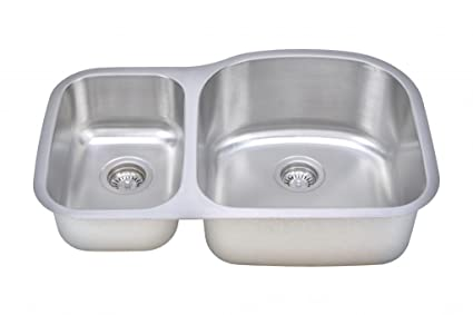 Wells Sinkware CMU3221-79D-1 18-Gauge 30/70 Double Bowl Undermount Kitchen Sink Package, Stainless Steel