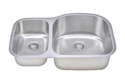 Wells Sinkware CMU3221-79D-1 18-Gauge 30/70 Double Bowl Undermount Kitchen Sink Package, Stainless Steel