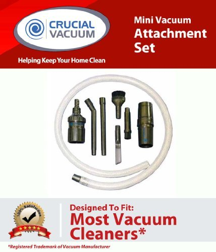 Mini Micro Tool Attachment Set Fits ALL Vacuum Cleaners; Perfect for Hard-To-Reach Areas - Office Equipment, Computers, Car Detailing, Stereo Equipment, Video Equipment, Typewriters, Auto Interiors, Sewing Machines and more; Designed & Engineered By Cruci