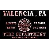 qy65540-r FIRE DEPT VALENCIA , PA PENNSYLVANIA Firefighter Neon Sign Barlicht Neonlicht Lichtwerbung