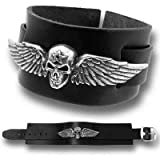 Alchemy Gothic Spirit Of Destiny Pewter Winged Skull On Adjustable Buckled Leather Bracelet Black