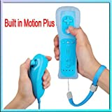 2X Built-in Motion Plus Wiimote Remote Controller + Nunchuck For Nintendo Wii Blue