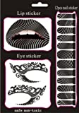 Buyinhouse New Fashion Style Temporary Nail Lips Eyes Eyeliner Transfer Eyeshadow Makeup Beauty Tattoos Stickers Set Kit, Night Out - Stand Out -Zebra Wave