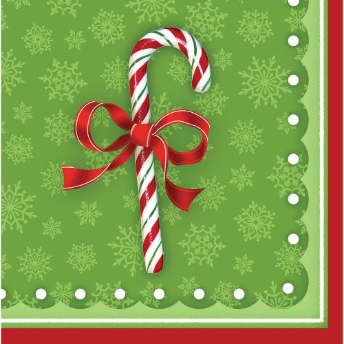 Creative Converting 656910 16 Count Candy Cane Bliss Paper Beverage Napkins