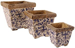 Esschert Design AC01 19 x 20 x 20cm Ceramic Flower Pot Set - Multi-Colour (3 Pieces)